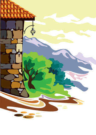 simple house: Illustration of a simple house in the mountains Illustration