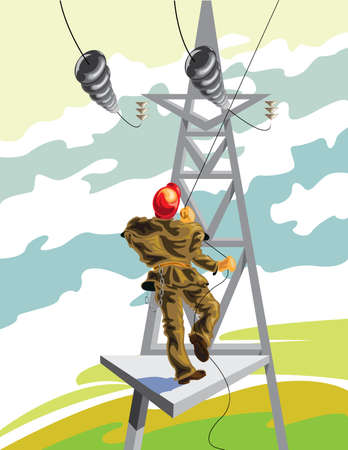 clambering: Electrician working with power lines