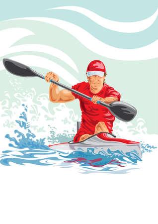 Vector illustration of a man in a kayak Vettoriali