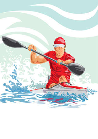 Vector illustration of a man in a kayak Vectores