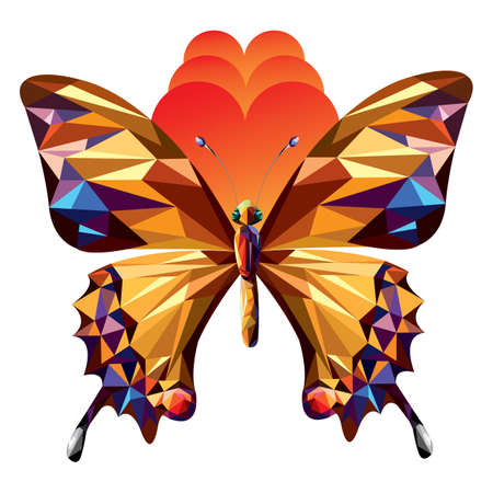 two dimensional shape: polygonal butterfly (icon) - Illustration