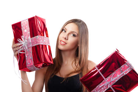 Girl with red gift box photo