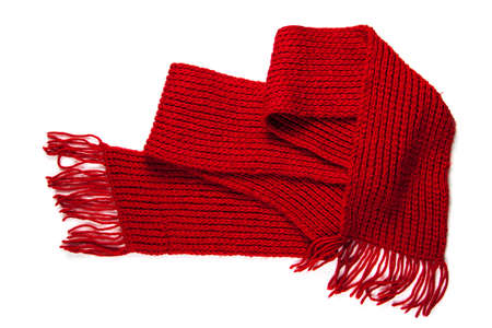 knitted red scarf with fringe