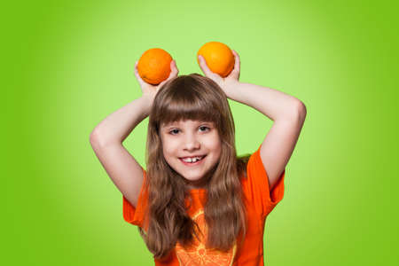 girl with citrus photo