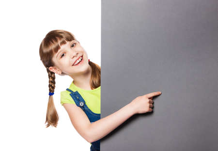 girl showing on the poster Stock Photo