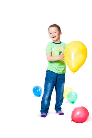 boy with colorful balloons photo