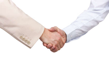 agrees: business handshake isolated on a white background Stock Photo