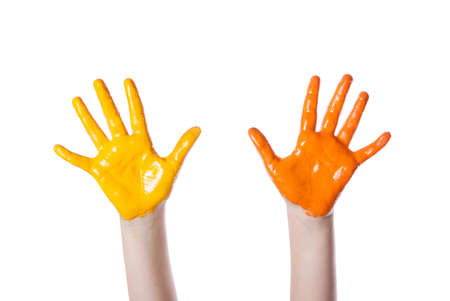 colored dye: hands on a white background colored dye Stock Photo