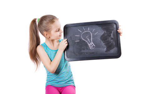 girl holding a plate of idea Stock Photo