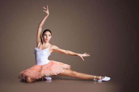 dance girl: Graceful slender ballerina dancing