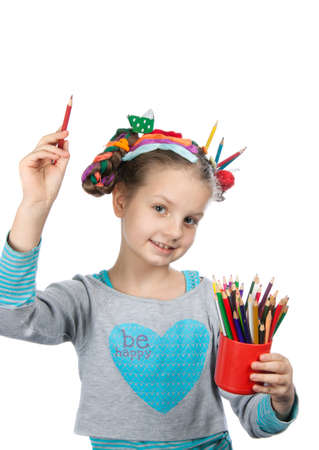 child and creativity, development. Portrait of a cheerful girl creative