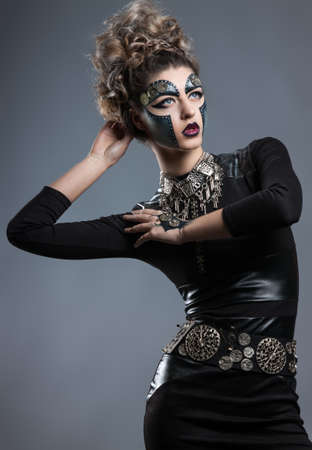 entice: portrait of a woman with makeup Steampunk Stock Photo