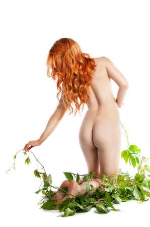naked girl standing back