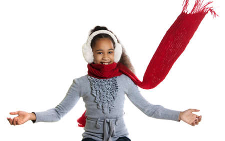 froze: A beautiful dark-skinned girl in a red scarf. Cold. Girl froze