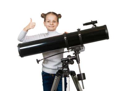 fernrohr: Kind Blick in Teleskop Star Gazing Kleines Mädchen auf einem weißen Hintergrund Lizenzfreie Bilder