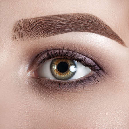 Female eye close-up. Macro. Perfect makeup and eyebrows. Beautiful green eyes Stock Photo