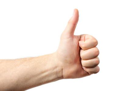 alzando la mano: Muestra de la mano del hombre aislado en el fondo blanco. dedo levantado hacia arriba