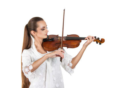 beautiful young woman playing the violin. Musician. Stock Photo Isolation on a white background Stock Photo