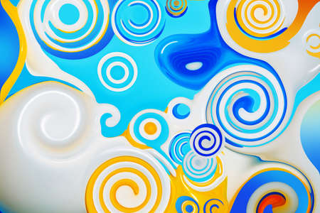 Beautiful abstract background in blue, yellow and white. Spirals and curls. Bright colorful screensaver.