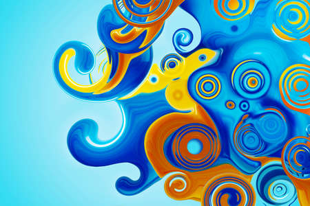 Beautiful abstract background in blue and yellow. Spirals and curls. Bright colorful screensaver.