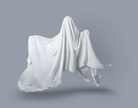 a Ghost in a white fabric fluttering in the wind on a gray background in the Studio. Halloween minimal concept.