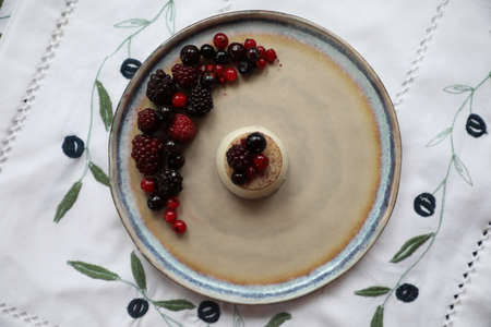 Panna Cota dessert with berries on a large plate