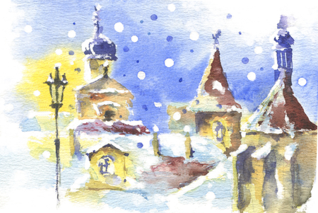 Romantic winter mood in european old town. Snow, roofs, closy street and lights