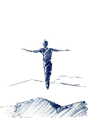 Man flying, jumping in the air sky with a mountain in the foreground. Watercolor illustration over white background
