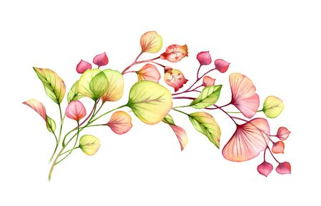 Transparent floral arrangement hand painted watercolor arch of leaves, branches in pastel pink, green orange red coral botanical illustration wedding design elements