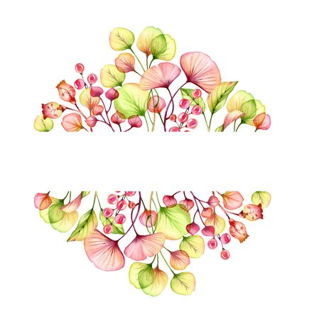 Watercolor Transparent floral arrangement isolated on white text frame of berries, leaves, branches in pastel pink, green orange red coral botanical illustration wedding design banner