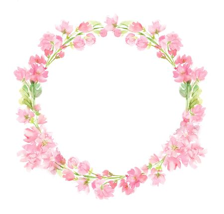 Pink abstract floral watercolor whole round wreath with pastel color flowers and leaves hand painted in circle arrangement for greeting wedding card logo design isolated on white Stockfoto