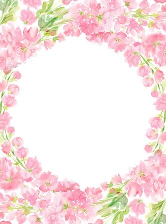 Pink abstract floral watercolor round vertical frame wreath arrangement pastel color flowers and leaves hand painted background in circle for text greeting wedding card logo design isolated on white