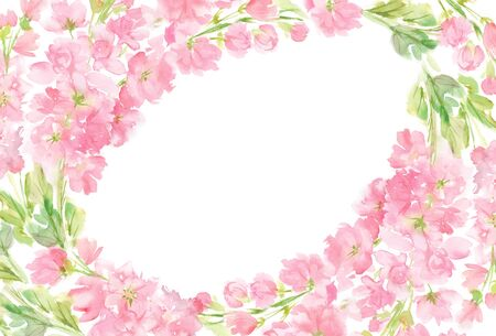 Pink abstract floral watercolor oval horizontal frame wreath arrangement pastel color flowers and leaves hand painted background in circle for text greeting wedding card logo design isolated on white