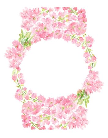 Pink abstract floral watercolor round frame wreath with pastel color flowers and leaves hand painted in circle arrangement for greeting wedding card logo design isolated on white Stockfoto