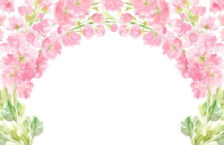 Pink abstract floral watercolor horizontal frame wreath arrangement pastel color flowers and leaves hand painted background in circle for text greeting wedding card logo design isolated on white