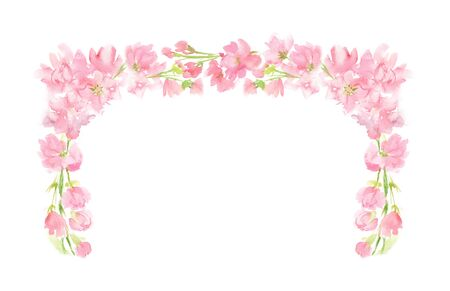 Pink abstract floral watercolor rectangular wreath with pastel color flowers and leaves hand painted in square corner arrangement for greeting text wedding card logo design isolated on white Stockfoto