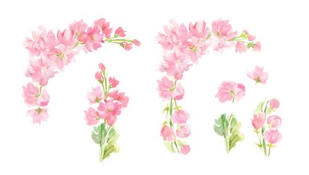 watercolor abstract floral set with pastel pink color flowers and leaves hand painted design elements in square arrangement for greeting wedding card logo pattern textile isolated on white