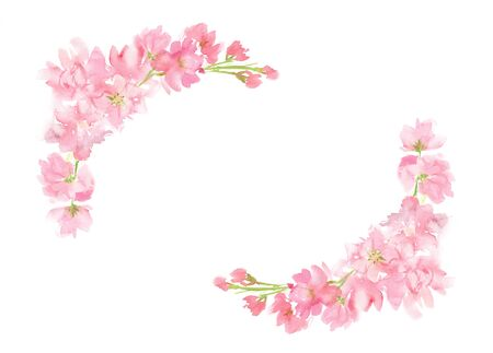Pink abstract floral watercolor corner wreath with pastel color flowers and leaves hand painted in square arrangement for greeting envelopes text wedding card logo design isolated on white Stockfoto