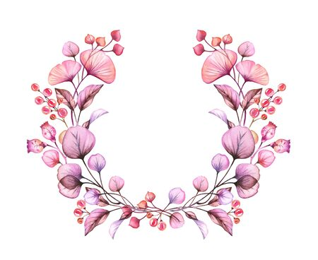 Watercolor Transparent flowers wreath isolated on white floral round arrangement of berries, leaves, branches bundle in pastel pink violet purple botanical illustration logo wedding design elements Stockfoto