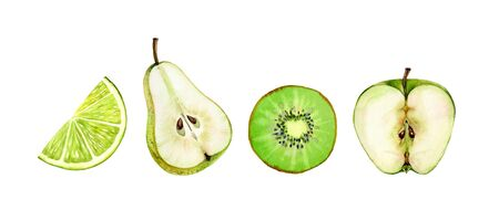fruits half slice set green apple pear kiwi lime seeds realistic botanical watercolor illustration juicy isolated on white hand drawn, tropical food exotic food for label design
