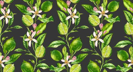 Lime branch seamless pattern watercolor fruit tree with flowers realistic botanical floral surface design: whole half citrus leaves on cream beige background hand drawn for textile wallpaper