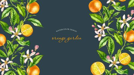 Orange fruit branch horizontal frame with flowers realistic botanical watercolor banner: citrus tree leaves on sides artwork on dark grey black hand drawn exotic food design text label stationery 写真素材