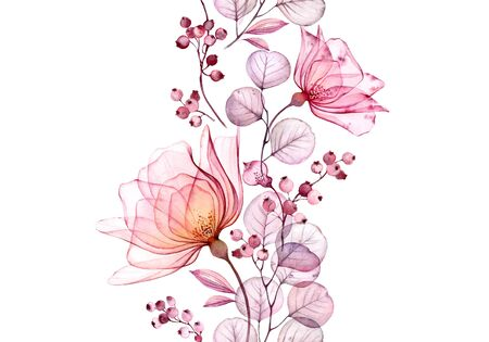 Transparent watercolor rose. Seamless vertical border floral illustration. Isolated hand drawn arrangement with berries for wedding design, stationery card print Stockfoto