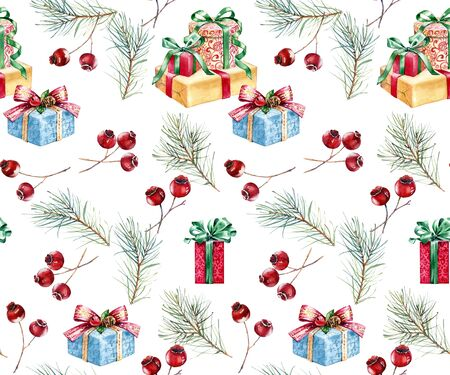 Christmas watercolor seamless pattern. Hand painted illustration with pine tree, red berries and presents. Winter holiday poster background isolated on white for greeting card and wrapping paper