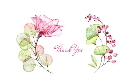 Watercolor Transparent Rose floral thank you card. Eucalyptus branch, flowers and berries isolated on white. Botanical illustration for stationery design 写真素材
