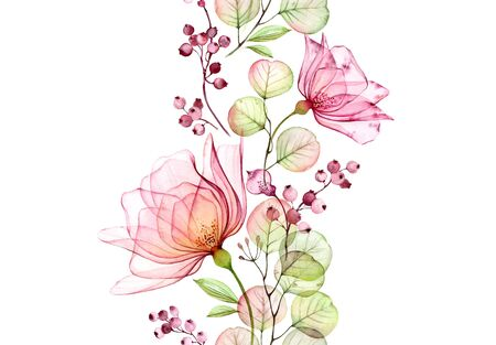 Transparent watercolor rose. Seamless vertical border. Isolated hand drawn arrangement with big flowers, eucalyptus and berries for wedding design, stationery card print