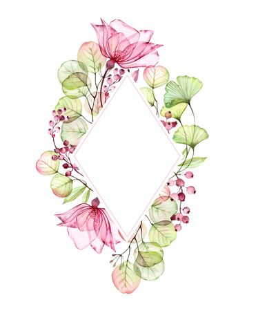 Watercolor Transparent floral vertical rhomb frame of roses, leaves, berries and eucalyptus branches. Hand painted vintage illustration for text and wedding stationery design