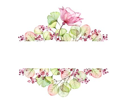 Watercolor Transparent floral bouquet arrangement of roses, leaves, berries and eucalyptus branches. Hand painted vintage frame for text and wedding stationery design