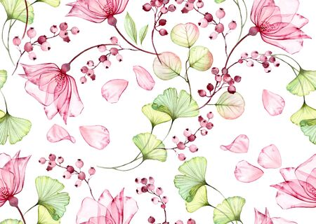 Transparent watercolor rose. Seamless floral pattern. Isolated hand drawn with flying petals of flowers, eucalyptus and berries for wallpaper design, textile, fabric