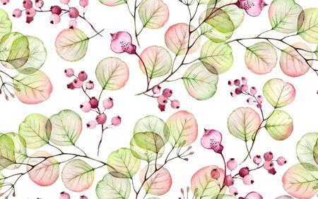 Eucalyptus watercolor seamless pattern. Hand drawn transparent floral illustration with pink berries for wedding design, surface, textile, wallpaper